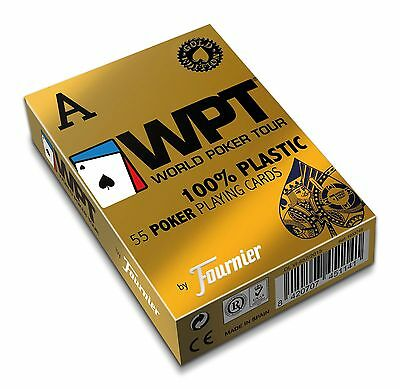 Fournier Wpt Gold Edition World Poker Tour Plastic Playing Cards Deck *blue* New
