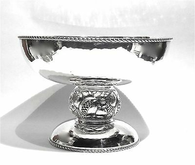 Otto Wolter Germany 800 Silver Hammered Finish Repousse Pedestal Bowl 545 Grams