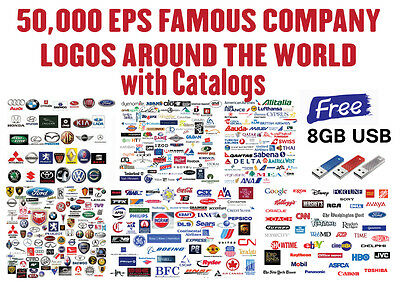 50,000 EPS FAMOUS COMPANY LOGOS : Vinyl Plotter / Cutter, Signs, Image Clip Art