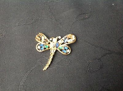 CHRISTIAN DIOR Vintage Costume BROOCH model of BUTTERFLY with diamante wings