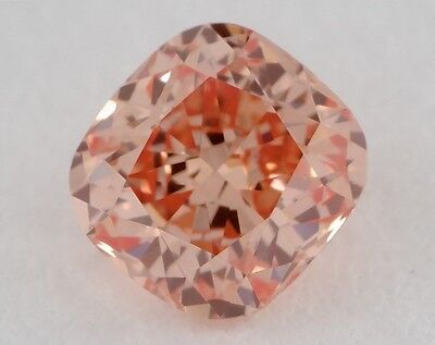 GIA Certified 0.43 Ct Fancy Deep Orangy Pink VS2 Cushion Natural Loose Diamond