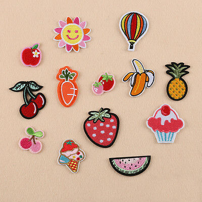 1Pc Sew Iron on Patch Badge Embroidered Fruit Smiling Motif Hat Cloth Applique
