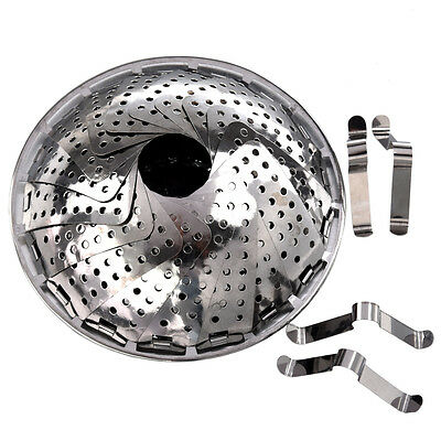 New 119g Silver Kitchen Folding Stainless Steel Mesh Holes Steam Basket SE