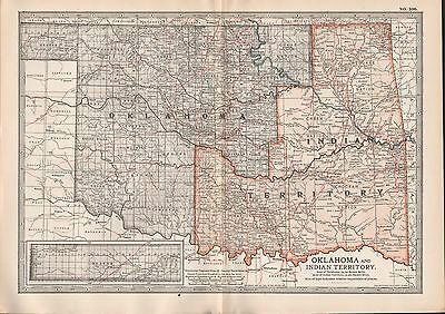 1903 Britannica Antique Map Usa Oklahoma And Indian Territory