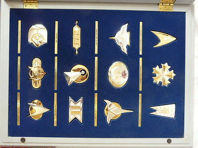 star trek badge collection solid 925 silver & gold franklin mint set insignia