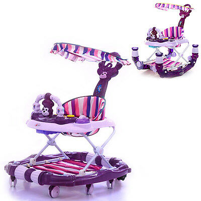 Baby Walker Luxury Toddler Seat Musical Toy Canopy Folded Multiuse Rocking Horse