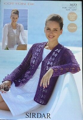 928f2a2ddfda80 SIRDAR KNITTING Crochet Pattern Ladies D K Cardigan Size 32
