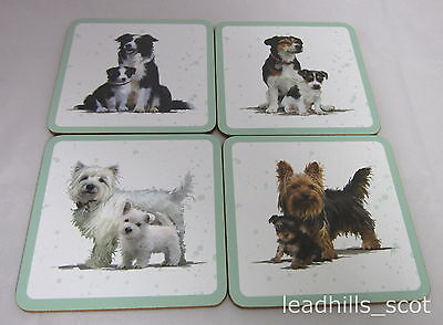 4 Dogs with Puppies Coaster Set ~ Pack of Four Drink Mats by Macneil