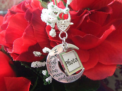 Wedding Bouquet Memory Charm, I Love You to the Moon and Back + Mini Photo Frame