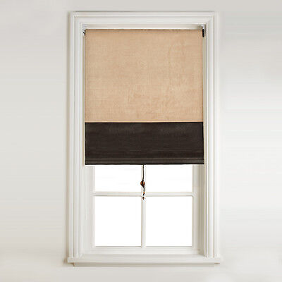 Sunlover Quality Easy-Fit Window Roller Blind -Cream & Brown- 61x160cm