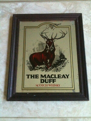 """VINTAGE THE MACLEAY DUFF SCOTCH WHISKY MIRROR 17 1/2"""" x 14 1/2"""" TIMBER FRAMED"""