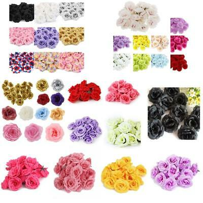 20/50 x Wedding Fake Roses Artificial Silk Plastic Flower Heads Party Decoration