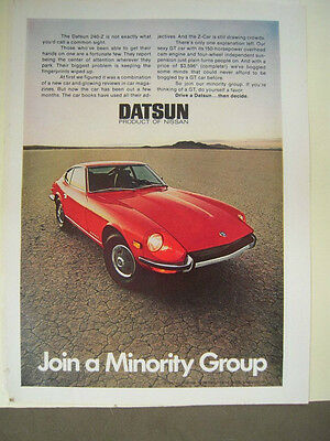 VG! VNTG 1960s 1970s Red Datsun 240Z Print Car Color Ad - Sports Race Car Coupe