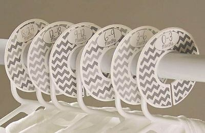 Gray chevron #c170 girl boy Baby Closet Dividers Clothes Organizers 6