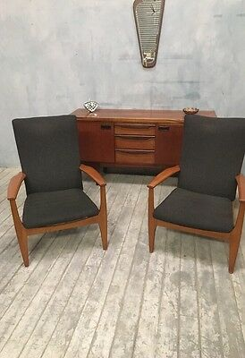 Stylish Retro Pair Of Mid Century Parker Knoll Cocktail Armchairs