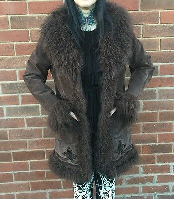 Miss Selfridge Vintage 90s Suede Mongolian Fur Afghan Penny Lane Coat Jacket 12