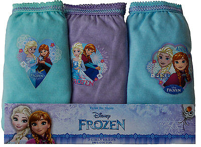 Girls Disney Frozen 3 Pack Briefs Knickers Underwear Pants Elsa Anna 100% Cotton