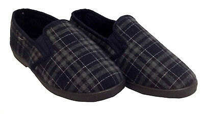 Mens Gents Indoor Navy Full Slippers Hard Sole Cosy Warm Flat Slip On Shoes Size