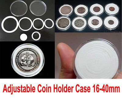 50pcs US Commemorative Acrylic Capsules Coin Holders Case 16 - 40mm Adjustable