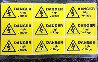 9 x Danger high voltage warning labels, electrical stickers 49 x25mm FREE P&P