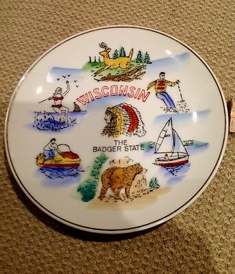 """Vintage Souvenir State Plate Wisconsin The Badger State  6 1/8"""""""