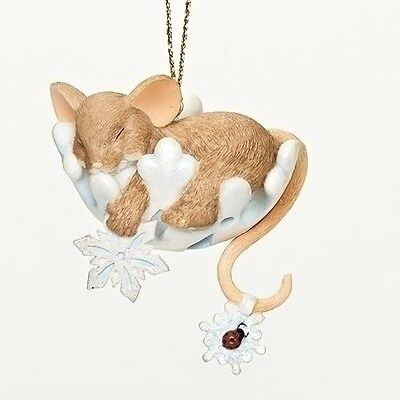 Charming Tails Snoozy Snowflake Mouse Sleeping Ornament Christmas NEW 2016 30383