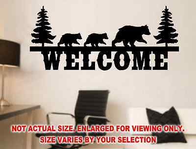 3 Black Bear Welcome Sign Wall Decal Sticker Rustic Mountains Cabin Cottage Art