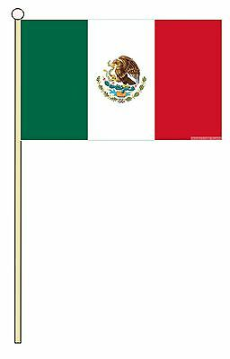 "MEXICO 18"" x 12"" LARGE HAND WAVING COURTESY FLAG & POLE MEXICAN"