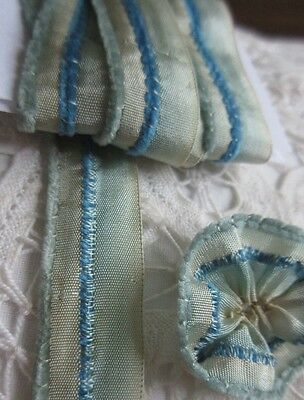 Antique Silk Ombre Ribbon Chenille Edge 1 Yd Blue Trim Ribbon Work Rose Flowers