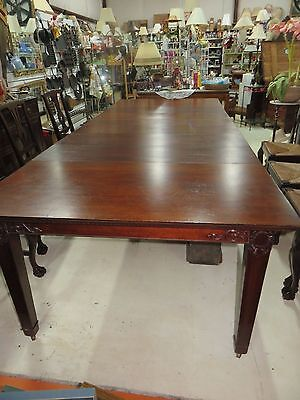 Antique Dining Table 8 Rush Chairs 10' long with 6 leaves and crate