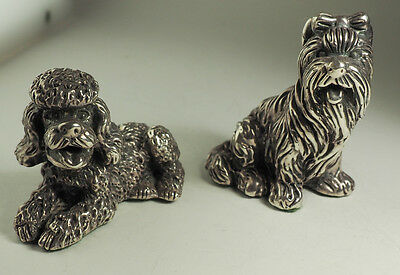 Terrier and Poodle dog 2 vintage sterling silver figurines statues