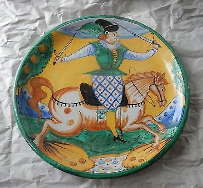 Dolfi Otello Montelupo Italy Ceramic Platter / Plate / Charger Rider With Swords