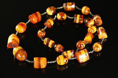 Natural Antique 93gr. Butterscotch Egg Yolk Baltic Amber stone Necklace #248