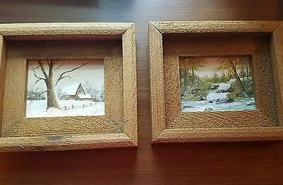 Vintage, Original, Framed Oil Paintings,Set of 2, On Canvas, Signed by B. Teute