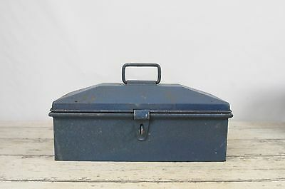 Large Vintage Blue Southern Stove Works Domed Tool Box With Removable Tray