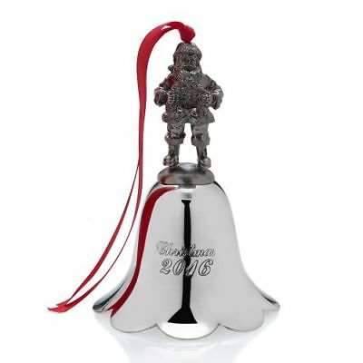 New Wallace 2016 Nickel-plated Santa Bell - 25th Anniversary Ed.