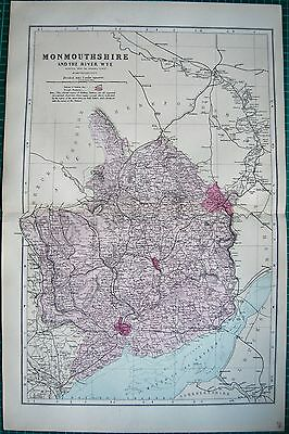 1884 Large Antique County Map-Bacon -Weller,monmouth And The River Wye
