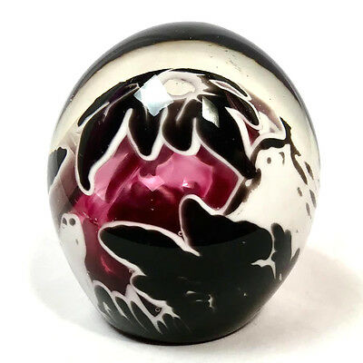 Black, White & Purple Studio Art Glass Paperweight, Signed by Artist Kelly Bruk