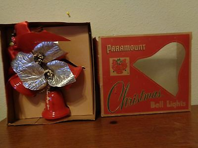 Vintage Paramount Christmas Bell Lights Foil Leafs Holly 3 Light Cluster WB