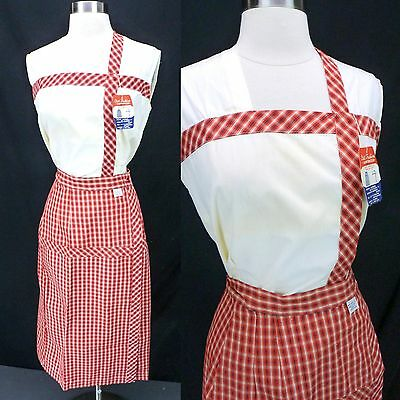 NOS Vtg 60s Red Plaid 2-Piece Dress Set Sleeveless White Top Pencil Skirt S