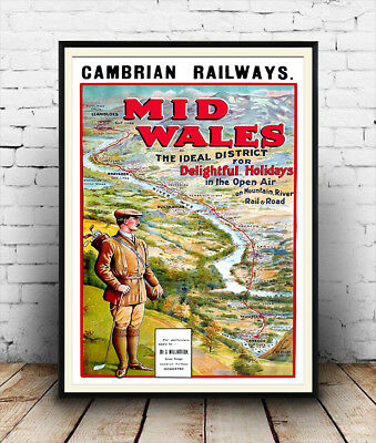 Mid Wales :  Vintage Cambrian Railway Travel Poster reproduction.