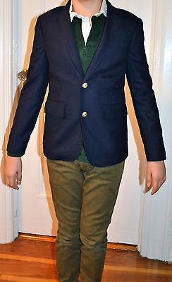 J CREW CREWCUTS LUDLOW NAVY BLUE WOOL  BLAZER JACKET NEW 12 BOYS gold buttons