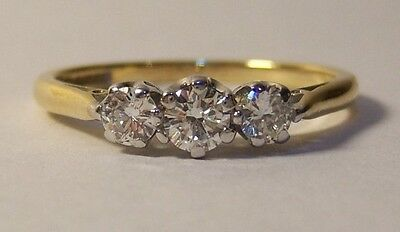 18ct Gold 0.40ct 3 Stone Diamond Ring Size L 1/2