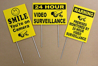 3-24 HOUR VIDEO SURVEILLANCE SMILE YOU'RE ON CAMERA SECURITY SIGNS STAKES 8x12 y