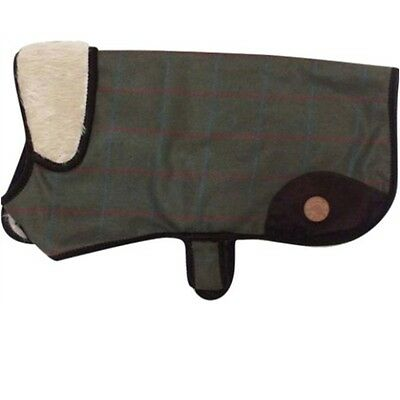 Country Pet Outdoor Stylish Green Tweed Fur Collar Dog Coat  **52cm/20 inches**