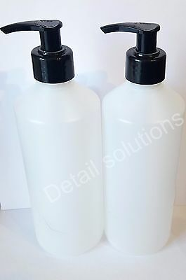 2 Empty Pump dispenser 500ml HDPE bottles with black lotion soap Liquid shampoo