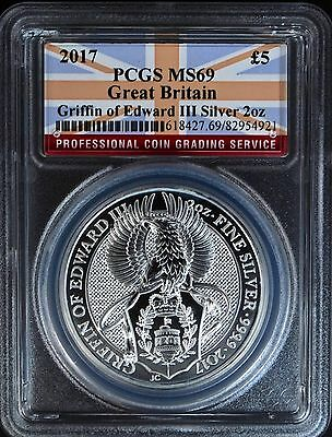 2017 Great Britain 2oz Silver Queens Beast Griffin PCGS MS69 UK Coin BU Edward