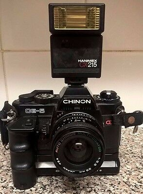 Vintage Chinon CE-5 35mm Camera with Power Winder, Flash and Auto Chinon Lens