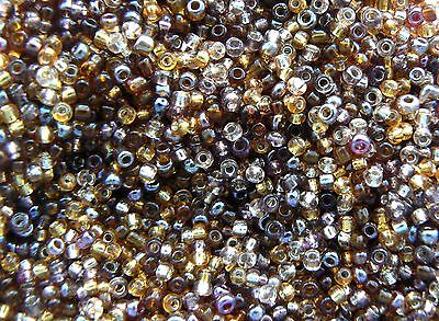 Glass Small Seed Beads 12/0 Bronze, Brown, Gold, Amber Mix 2mm approx - 30g bag