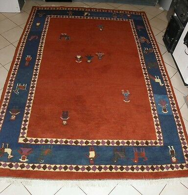 Beautiful Oriental hand knotted wool Gabbeh carpet rug 200 x 298 cm size